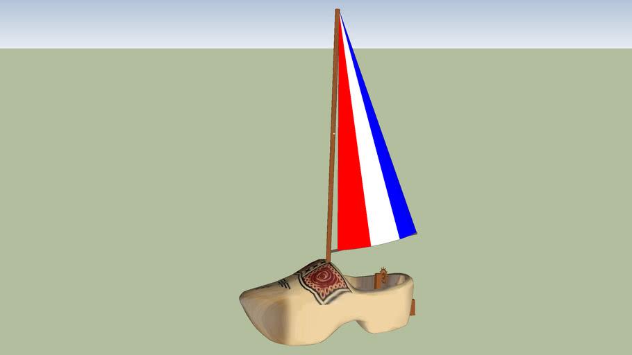 April fools 2012 Giant wooden shoe sailboat markermeer
