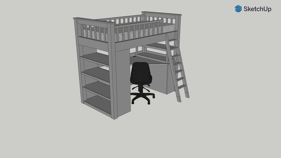 Loft Twin Size Bed W Desk Dresser Shelves 3d Warehouse