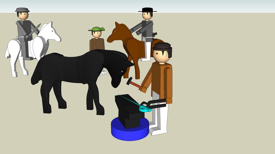Igra with horses, smith, knight, cowboy