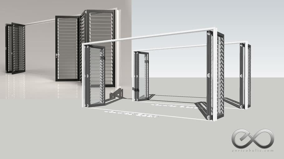 Folding Louvred Door 2x3 - Fully Open