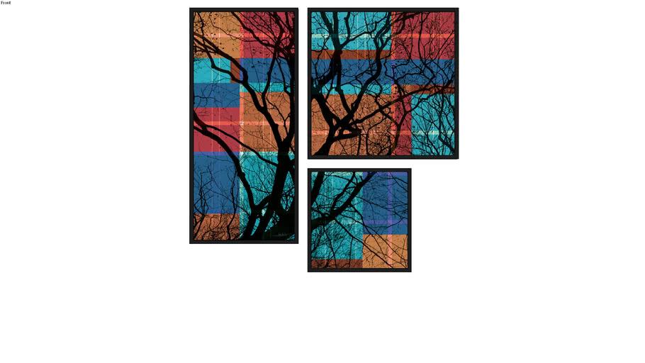 Composição de 3 Quadros - Tree Vitral 1, 2, 3