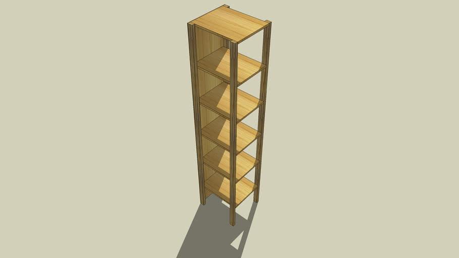 Wooden shelf, open on three sides