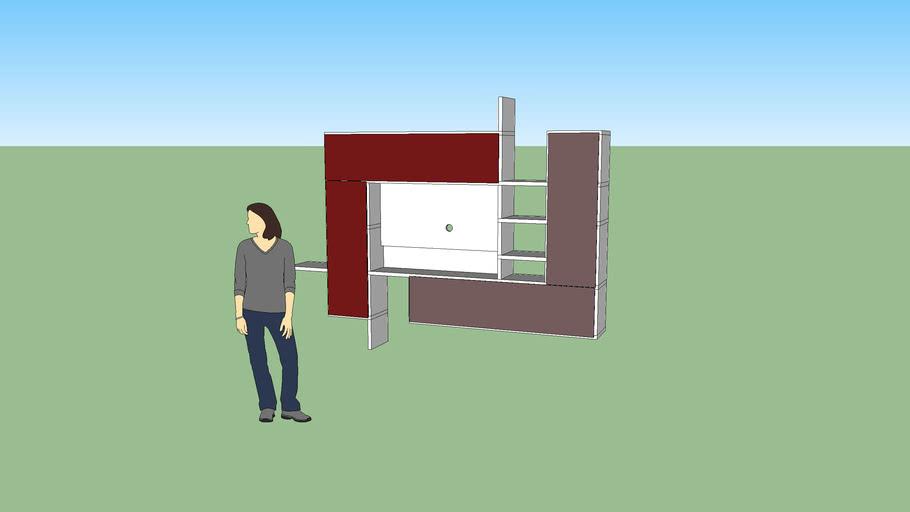 parete sospeso per Tv bicolore, frontale vetro laccato