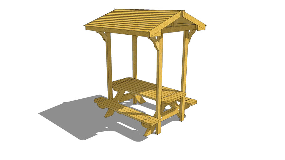picnic table (roof style)