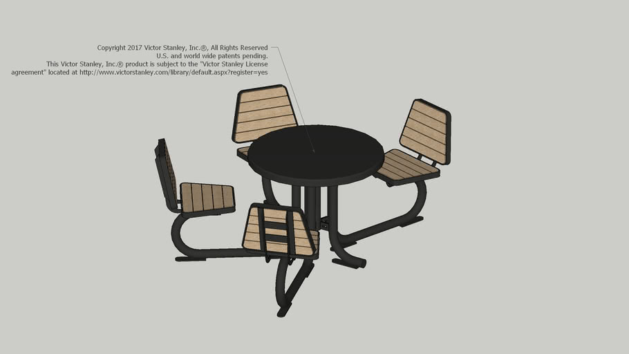 N-H-364 Anthro Sites™ 36in Table with Recycled Plastic Slat Seats