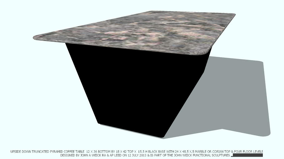 COFFEE TABLE BALCK TRUNCATED MARBLE 2X4 TOP DESIGNED BY JOHN A WEICK RA