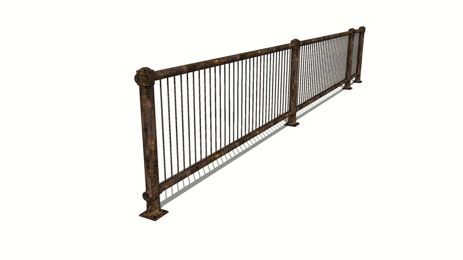 Rusted Metal Railing Assembly