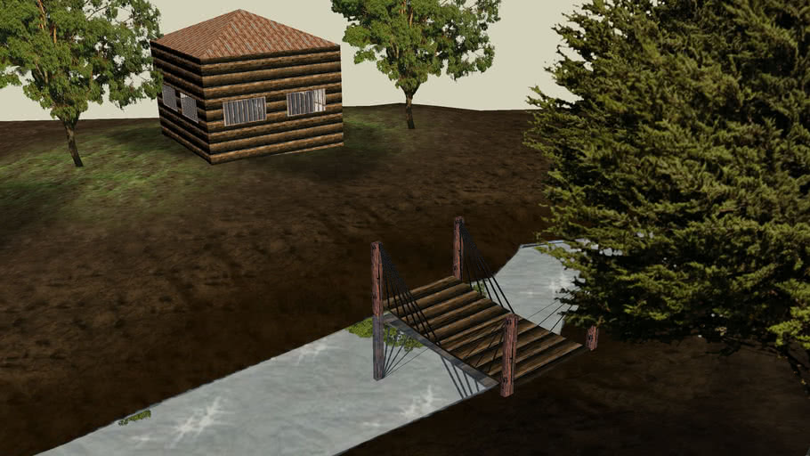 Forrest Scene (river, bridge and small, abadonned house.) [SketchyPhysics Ready]