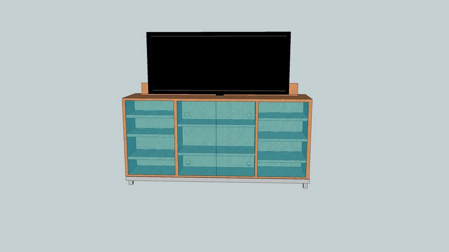 TV Lift Cabinet w glass Doors