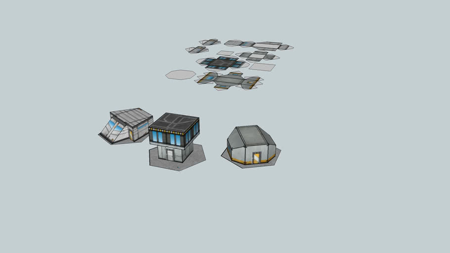 Battletech Sci-fi Houses at Game Scale.