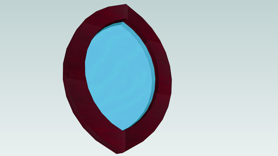 Oval Red Mirror