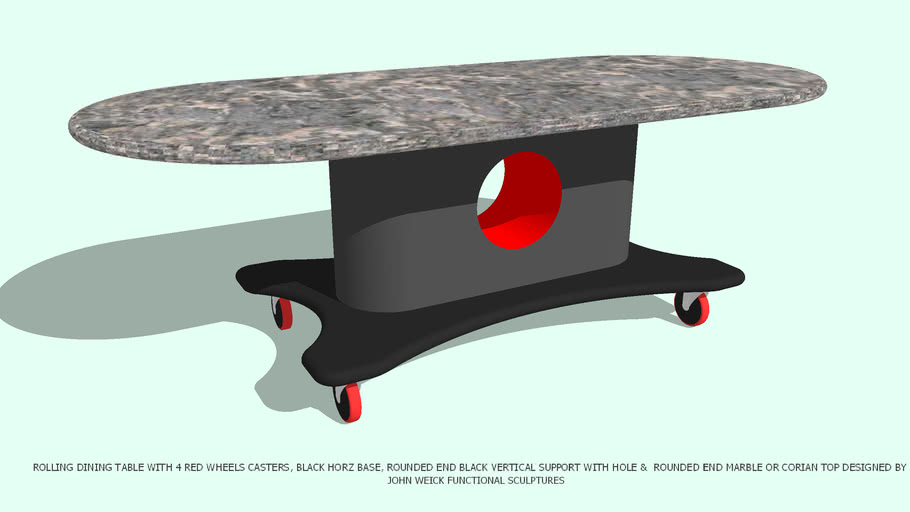 TABLE DINING ROLLING ROUNDED VERT SUPPORT & TOP BY JOHN A WEICK RA