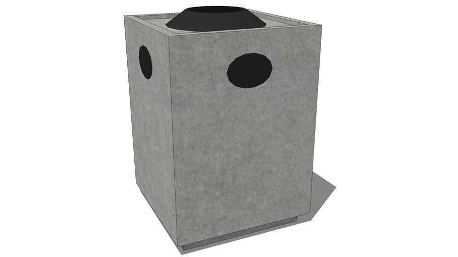 Concrete trashcan