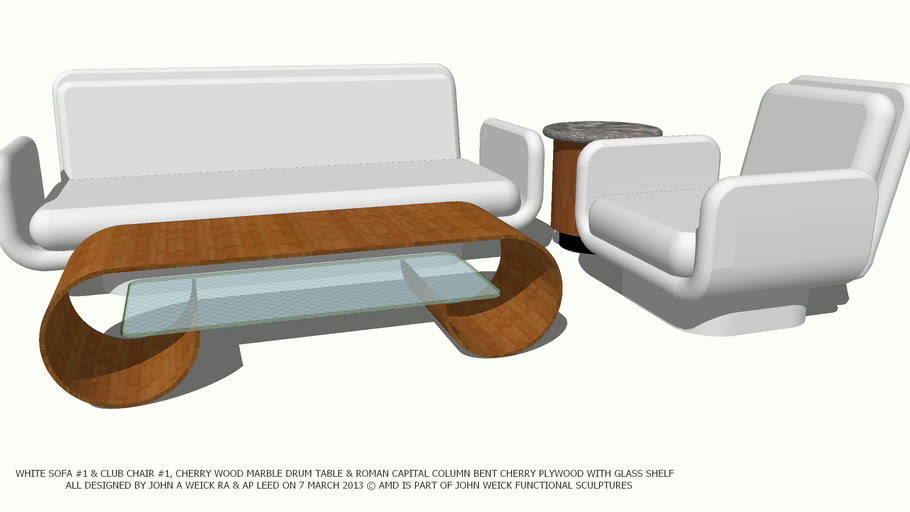 WHITE COLOR SOFA & CHAIR ROMAN CAPITAL COFFEE TABLE BY JOHN A WEICK RA