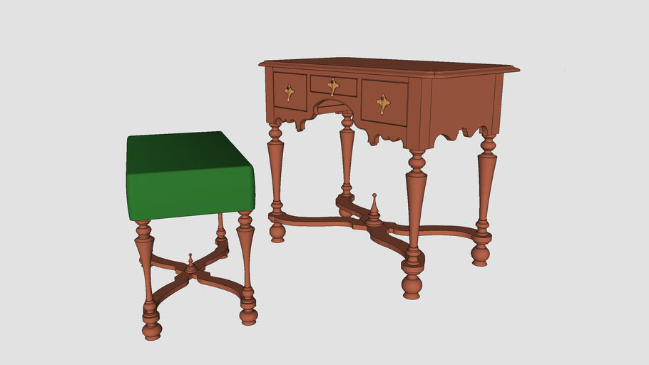 William and Mary dressing table and stool