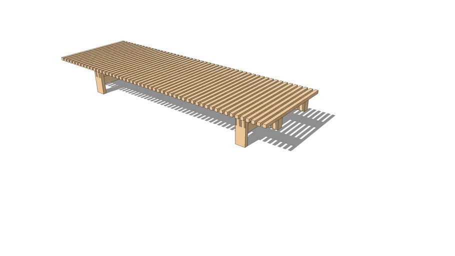 Pine bench by Charlotte Perriand