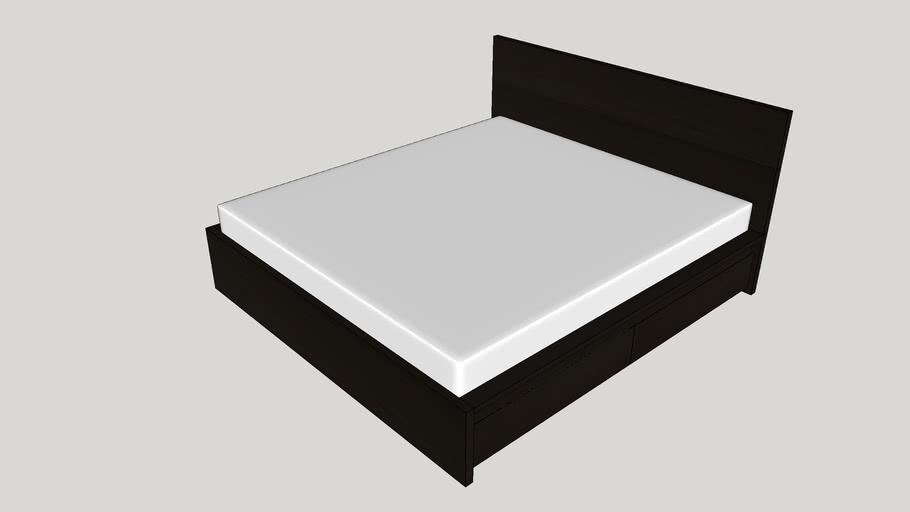 Storage Bo 180x200 Cm Black Brown, Ikea Malm Black Brown Queen Size Bed Frame