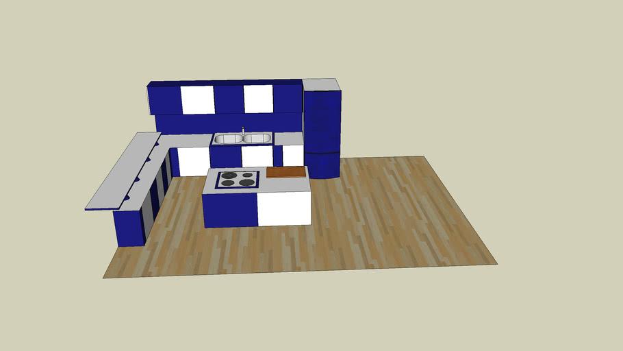Küche(blau-weiss)