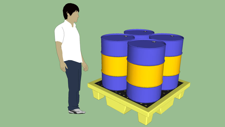 Industrial Series - Equipment - Container - Drum - Spill Containment Pallet w/ Drums