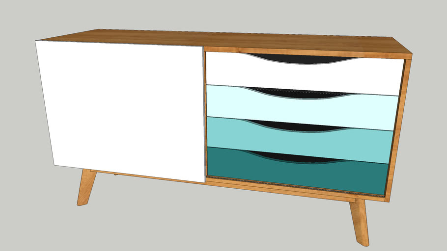 Buffet design sacndinave 4 tiroirs 3 niches Woodman - AVON cyan