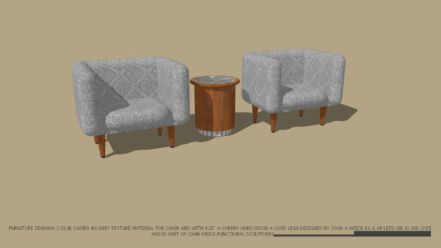 FUNCTIONAL SCULPTURES 2 CLUB CHAIRS #6  GREY TEXTURE & MIRAGE DRUM END TABLE DESIGNED BY JOHN A WEICK RA & AP LEED ON 10 JAN 2015