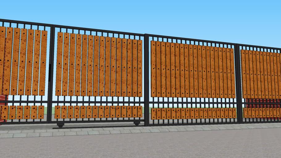 Pagar Rumah Kombinasi Kayu | 3D Warehouse