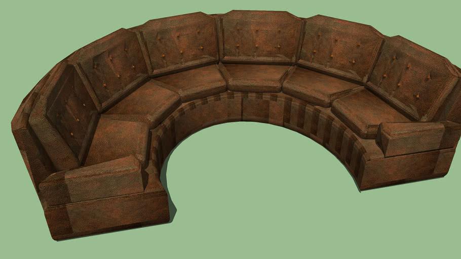 6 Person Leather Semi Circular Sofa Couch