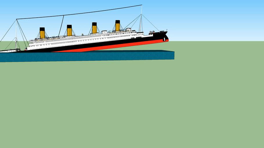 titanic com a proa comesando a afundar