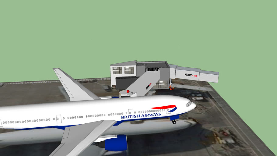 British Airways Boeing 777 with gate