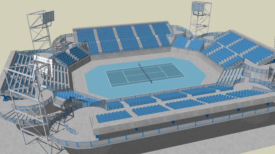 extreme detailed tennis stadium