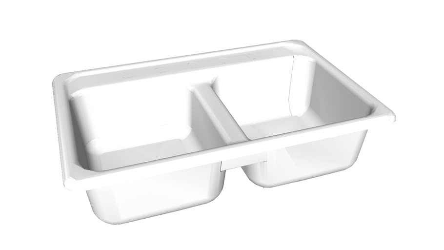 """K-5817-4 Delafield(R) 33"""" x 22"""" x 8-1/2"""" top-mount double-equal kitchen sink with 4 faucet holes"""