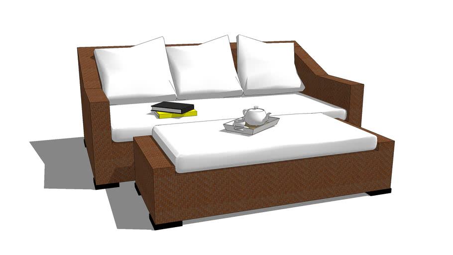 OUTDOOR SOFA + MULTIFUNCTION BENCH-TABLE