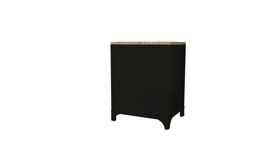 WAYNE - Table de chevet indus en métal noir
