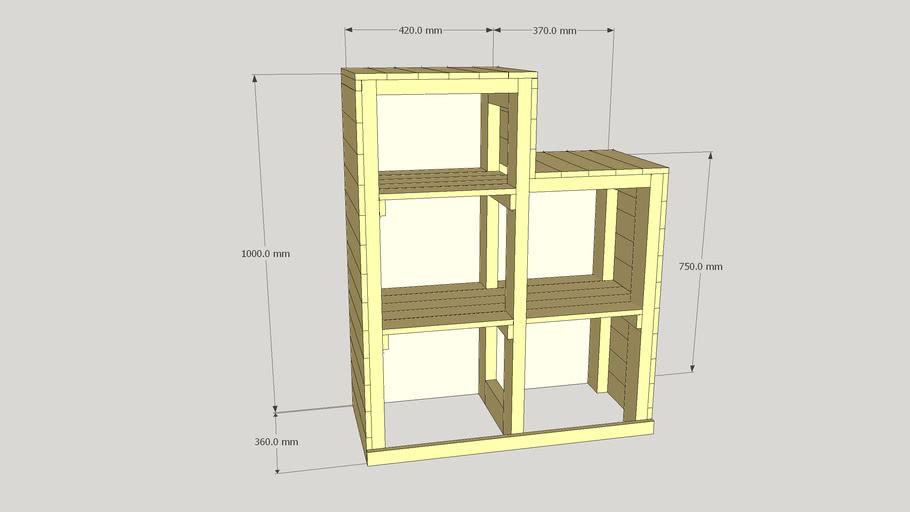 Bibliothèque/escalier pour lit mezzanine en palette