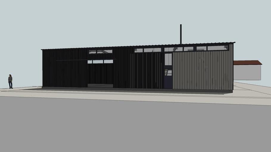 projet architecture de local artisanal hangar et habitation