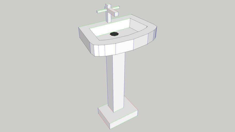 Low polygon bathroom sink