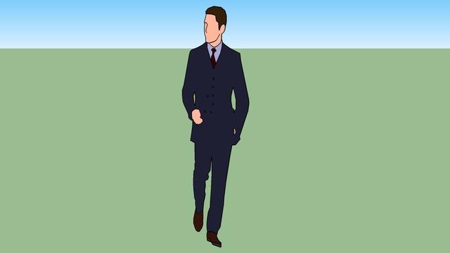 2D Three Piece Suit Man