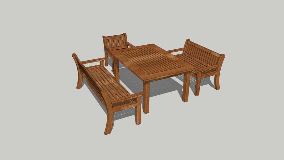 Garden Bench, Chair and Table Set in hardwood