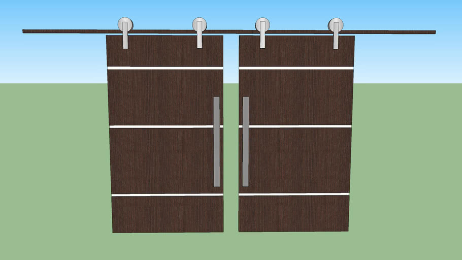 Porta de Correr Dupla para Sala, madeira preta com branco