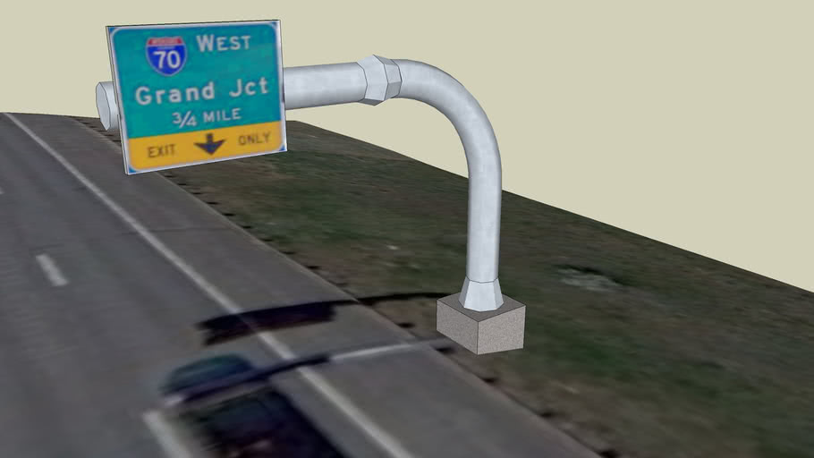 West Bound 6th to I-70 0.75 Exit Sign