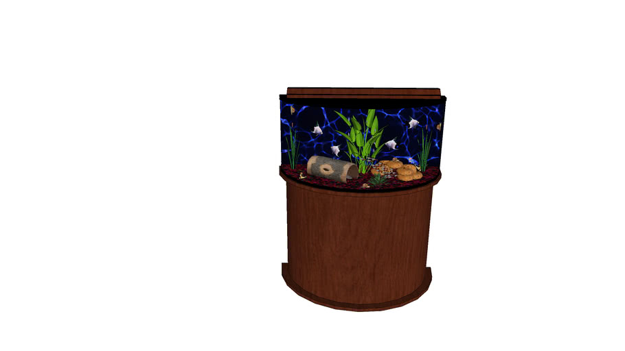 Freshwater Bowfront Aquarium with Wood Stand