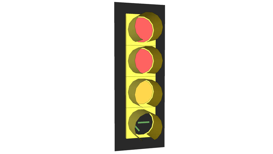Traffic Signal Fully Protected Advance Green with Frame, 12 Inches
