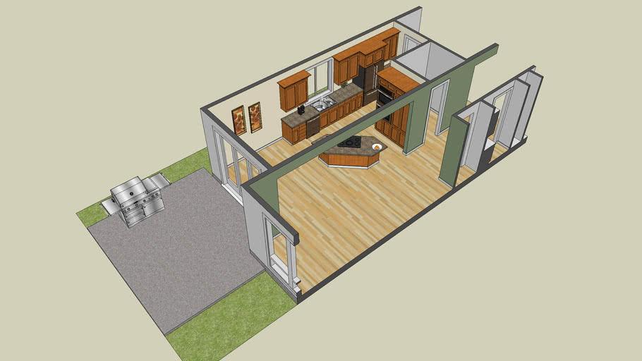 3D Kitchen Model of Plan 22145 from Alan Mascord Design Associates