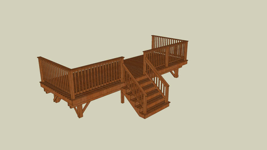 Free Standing Deck 8 x 23 with stairs and guard rail