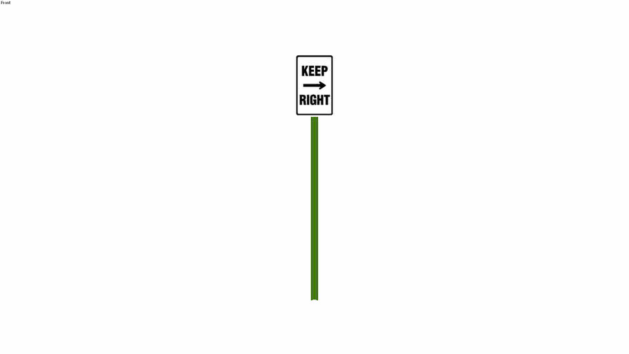 Keep Right Sign - Detailed