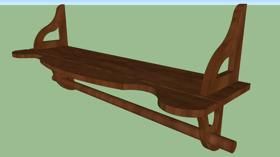 2 Foot Wall Shelf with Hang Rod