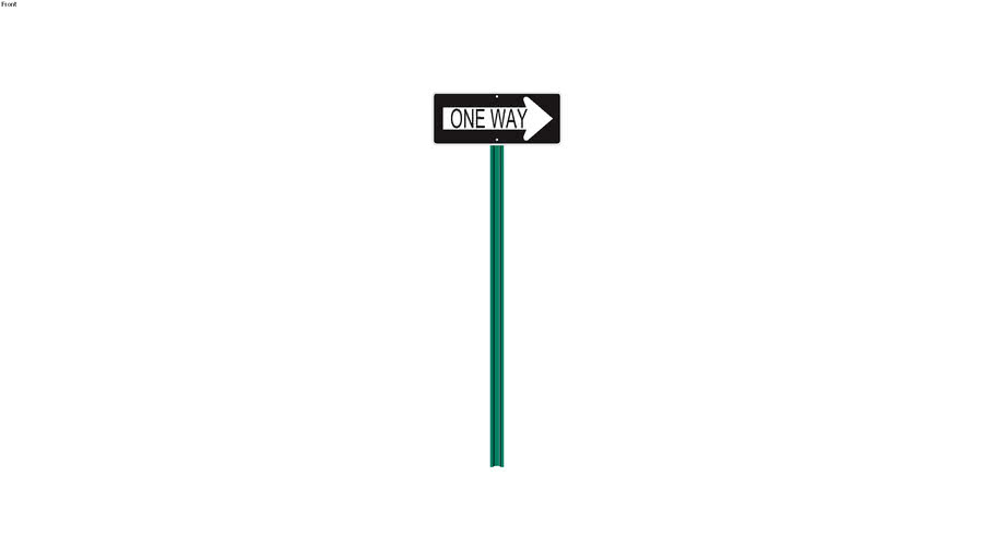 One Way Sign - Detailed