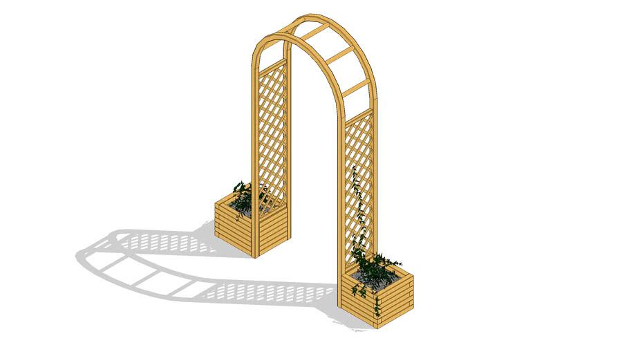 wooden garden pergola, arch with flower pots