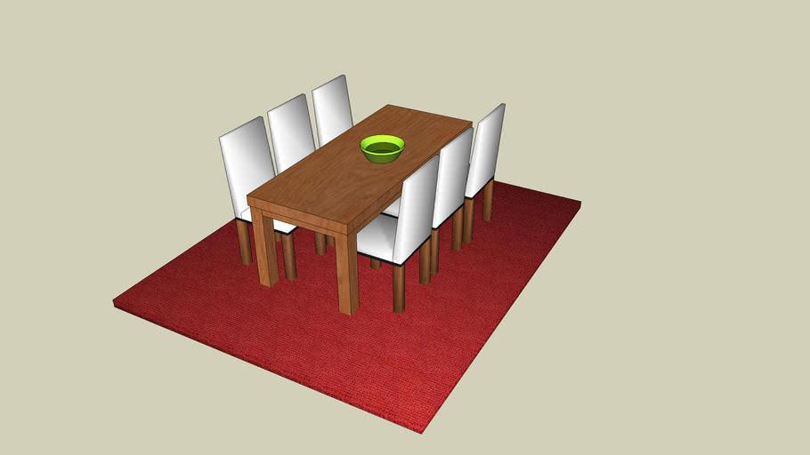 Dining Room Set up - Esszimmer mit Stühlen und Teppich
