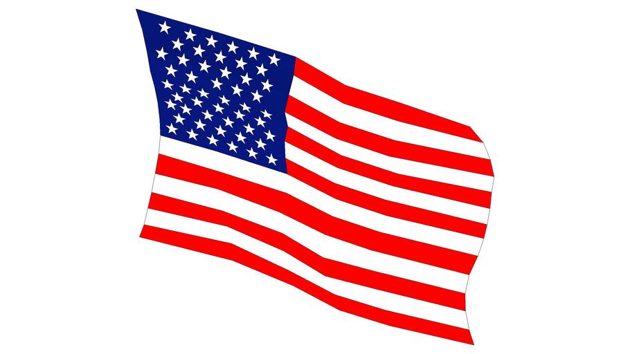 USA flag high polygon